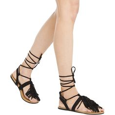 Faux Suede Fringe Sandals - Black Stretch Suede PU ($20) ❤ liked on Polyvore featuring shoes, sandals, black stretch suede pu, suede fringe sandals, fringe gladiator sandals, strappy lace up sandals, black strap sandals and fringe sandals