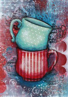 Thé pour deux Print Giclee Fine Art Print par MelaniePearsonDesign