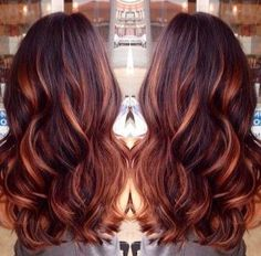 Dark brown hair with caramel highlights and red lowlights by dark brown hair with caramel highlights and red lowlights urmus Gallery