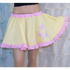 Mlp Fluttershy Applique Yellow Circle Skirt Adult All Sizes Mtcoffinz ($40) ❤ liked on Polyvore featuring skirts, silver, women's clothing, beige skirt, beige flared skirt, yellow tutu, beige skater skirt and tutu skirts