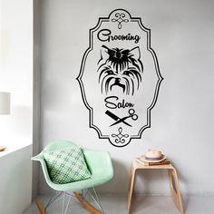 Wall Decals Quote Grooming Salon Decal Dog Comb Scissors Frame Vinyl Sticker Pet-Shop Grooming Salon Home Decor Art Mural Ms536