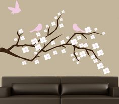 Magnolia tree branch decal with birds wall decal by couturedecals, $59.00