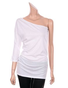 VICTORIA Sexy One Shoulder 3/4 Sleeve Slim Fit Tops Tees T Shirts White, 4 sz #VictoriasSecret #Sexy #Casual