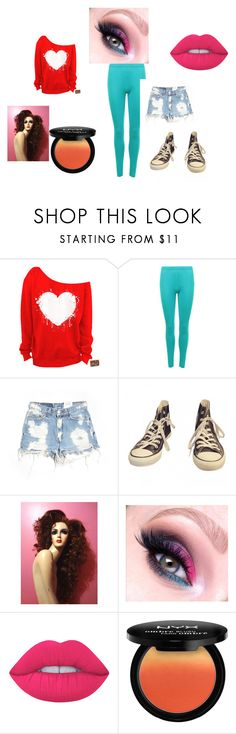 """80's day"" by red01 ❤ liked on Polyvore featuring WearAll, Furst of a Kind, Converse and Lime Crime"