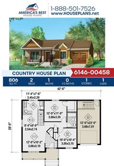Introducing a cozy Country design! Plan 6146-00458 is perfect for you and your spouse featuring 806 sq. ft., 2 bedrooms, 1 bathroom, a covered porch, an open floor plan, and the front entry garage feature. Visit our website for more details about this Country design. Country House Plans, Best House Plans, Dormer Windows, Build Your Dream Home, Front Entry, Open Floor, Square Feet, Sims 4, Facade