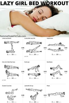 Workout plans, vital home fitness advice to keep it simple. Look up this healthy workout pinned image number 1180970939 here. Lazy Girl Workout, Fitness Workout For Women, Ab Workout In Bed, Bedtime Workout, Workout For Girls, Night Workout, Woman Workout, Waist Workout, At Home Workout Plan