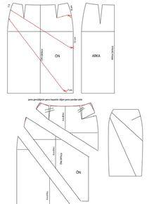 model uygulamalı etek işlem basamakları 1. Sol yan çizgi üzerinde kalça ve bel arasındaki mesafe 3'e bölünür. 2. sağ yan çizgi üzerinde... Sewing Hacks, Sewing Projects, Sewing Tips, Diy Vetement, Sewing School, Techniques Couture, Skirt Patterns Sewing, Pattern Drafting, Jacket Pattern