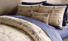 Beautiful vintage plane bedding. I sure wish I had this fabric to make nursery bedding.