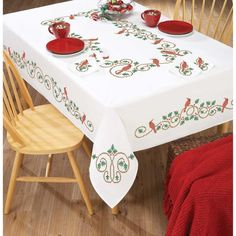 Herrschners® Holly & Cardinal Table Linens Stamped Cross-Stitch - Kitchen & Table Linens - Stamped Stitchery & Embroidery - Needlework - Herrschners
