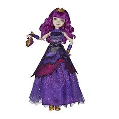 Disney Descendants Royal Yacht Ball Mal Isle of the Lost - Most Wanted Christmas Toys Disney Descendants Dolls, Disney Descendants 2, Disney Barbie Dolls, Isle Of The Lost, Decendants, Shopping World, Toys For Girls, Purple Dress, Girl Dolls