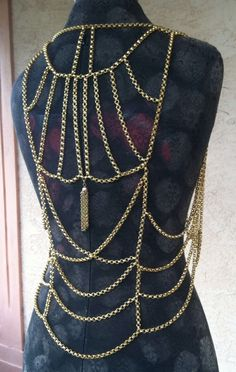 Gold Chain Vest, Body Jewelry, Vintage 1960s Great Condition! Gorgeous!
