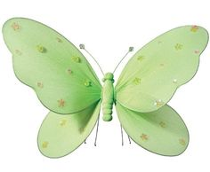 Hanging butterfly 14 quot large green nylon butterflies with sequins and