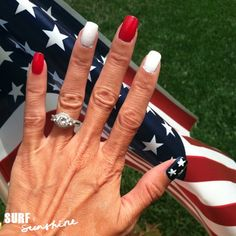 Easy DIY Fourth of July Nail Art Design - flawless technique for non-artists :) Diy Fourth Of July Nails, July 4th, Nail Polish Designs, Nail Art Designs, Gel Polish, Patriotic Nails, Holiday Nail Art, Nail Tutorials, Blue Nails