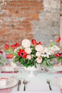 White, pink and red centerpiece: http://www.stylemepretty.com/2014/06/12/bridal-shower-inspiration-with-a-fresh-pop-of-color/ | Photography: Brkln View - http://www.brklynview.com/