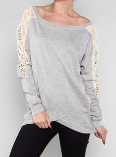 Crochet detailed sweatshirt. $34