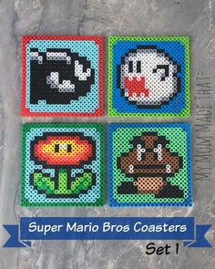 My Mom Made That: Super Mario Brothers Perler Bead Coaster Set  1 Free Patterns to Download!