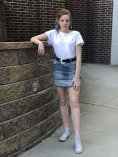 Emily wears a loose-fitted plain white tee tucked into a two-toned denim high-waisted skirt with a black belt and a thick silver western buckle. She pairs it with a blue bandana tied around her ponytail and high-top light grey converse sneakers. High Waisted Denim Skirt, Blue Denim Skirt, Denim Skirts, Jean Skirts, Pink Fashion, Trendy Fashion, Fashion Outfits, Womens Fashion, Fashion Trends