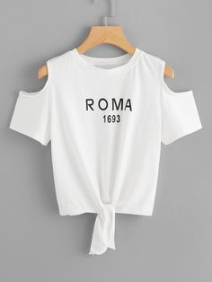 Letter Print Open Shoulder Knot Tee - - Letter Print Open Shoulder Knot TeeFor Women-romwe Source by shawnatonelli Girls Fashion Clothes, Kids Outfits Girls, Teen Fashion Outfits, Teenager Outfits, Cute Comfy Outfits, Cool Outfits, Cut Tee Shirts, T Shirt, Belly Shirts