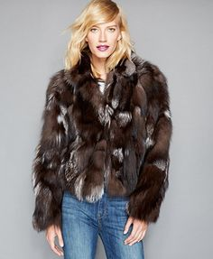Take any look to the max with a boho-chic, piece-y fox fur jacket from The Fur Vault. | Real fox fur; lining: polyester | Professional fur clean only | Imported | Fur origin: Finland | Genuine pieced,
