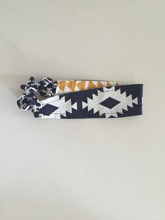 Headband Ikat and Arrows Reversible Hair Band Cotton by KYEbags