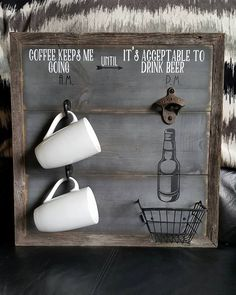 "Coffee keeps me going until it's acceptable to drink beer ~ am pm sign ~ coffee cup rack ~ beer bottle opener ~ cast iron ~ 18"" x 18"" by RusticCutsbyCrystal on Etsy"