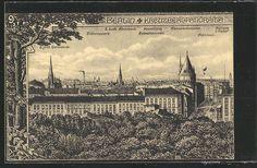 AK Berlin-Kreuzberg, Teilansicht mit Victoriapark, Hasenhaide, Wasserhebestation, Rathaus i. Rixdorf, Ballon  gelaufen 1909