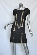 CHANEL Black Tweed Short Sleeve CC CHAIN EMBELLISHED Classic Sheath Dress S/34