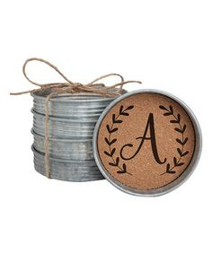 Initial Mason Jar Lid Coaster - Set of Four