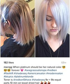 When platinum should be her natural color. Toner: Redken Shades EQ and equal parts. Apply on towel dried hair for 10 minutes. Silver Blonde Hair, Balayage Hair Blonde, Haircolor, 2015 Hairstyles, Pretty Hairstyles, Haircuts, Redken Hair Color, Redken Hair Products, Hair Color Formulas