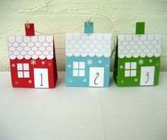 Advent calendar  3 different color houses  by Paper2Download