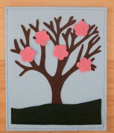 Seasons Tree Quiet Book Page with Flowers Leaves by KicksAndGrins