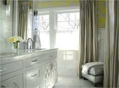 Caldwell Flake: White, yellow & gray bathroom design with white bathroom vanity, white mirror, double ...