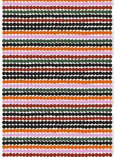 MARIMEKKO RASYMATTO ORANGE, GREEN COTTON   #orange #green #pink #olive #red #brick #pirkkoseattle #pirkkofinland #marimekko #stripes #dots #polkadots