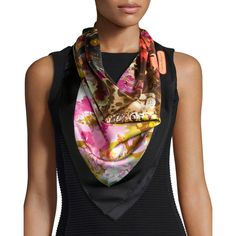 Salvatore Ferragamo Flower/Leopard-Print Silk Scarf ($300) ❤ liked on Polyvore featuring accessories, scarves, multi colors, silk scarves, leopard scarves, salvatore ferragamo scarves, leopard print shawl and colorful scarves