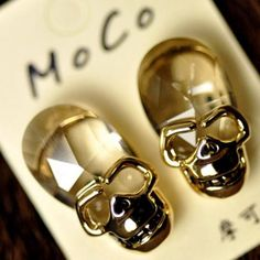 Punk Style Skull Crystal Stud Earrings