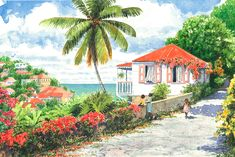 A Moment by Anne Miller, x watercolour print Watercolor Print, Fresco, Caribbean, Wedding Invitations, In This Moment, Architecture, Watercolours, Painting, Image