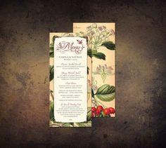 Printable Wedding Menu Tuscan Garden Vintage by WillowandSass, $20.00