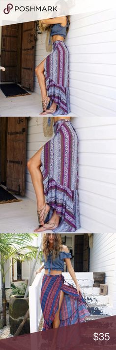 """""""Jada"""" ll Bohemian Wrap Skirt Just in! The """"Jada"""" Bohemian wrap skirt is the perfect addition to any summer wardrobe. Wear over a swimsuit at the beach or just out to brunch. Skirt is one size, as it's a wrap skirt and can be tied tighter or looser. However, best fit is probably on sizes 0-8.  Skirts Maxi"""