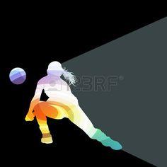 volleyball girl: Jugador de voleibol femenino silueta concepto de fondo colorido del vector de la mujer hecha de formas transparentes curvas
