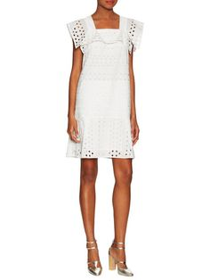 Cotton Flutter Sleeve Eyelet Dress by See by Chloe