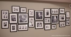 Print photos in black and white to unify photos taken over the years - Decorating with Pictures at Uniquely You Photography