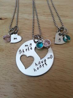 Hand Stamped Necklace My Girls Have My Heart by BlackWolfDesigns21