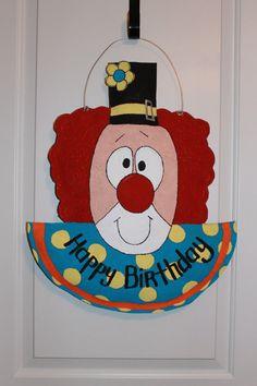 Happy Birthday Clown Burlap Door Hanger by TrucksCreativeCrafts, $30.00 Burlap Projects, Burlap Crafts, Happy Birthday Clown, Clown Party, Bright Ideas, Clowns, Kids Cards, Door Hangers, Wreaths