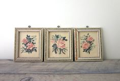 Vintage Framed Rose Prints Set of Three by 22BayRoad on Etsy, $22.00