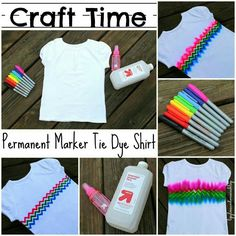 Weekly Style Tip - Summer Hippie Chic -- Modern Tie-Dye! - Craft Ideas - Modern Tie-Dye: Long sleeve T or onesie with giant K for Ike… - Tie Dye Crafts, Crafts To Do, Crafts For Kids, Teen Girl Crafts, Sharpie Crafts, Sharpie Art, Sharpie Markers, Marker Crafts, Diy Tie Dye Shirts
