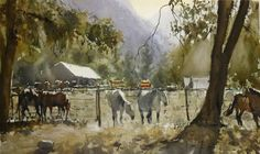 """Frank Eber. """"Stables"""" Frank is a phenomenal watercolorist. Born in Germany but resident in California."""