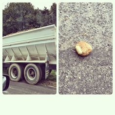 Driving behind a #potato truck on 27 in #Bridgehampton today, our prayers for one to pop out were answered. #hamptons #longisland