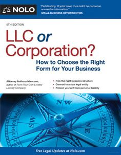 Has your company grown to the point where want to upgrade your legal structure to something that protects you and your assets, and provides other benefits? Either a corporation or a limited liability company will affect your legal and tax status, and bottom line in many ways: from what you pay in taxes to your ability to engage investors. Mancuso offers real-world conversion and formation scenarios displaying all the options available to you, and the newest information on small business taxes.