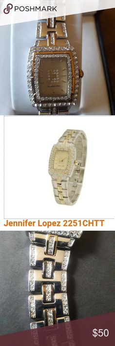Jennifer Lopez Women's watch J.Lo stainless steel, quartz woman's watch with Swarovski crystals. Watch is analog, waterproof and battery operated. Has never been worn. Jennifer Lopez Accessories Watches