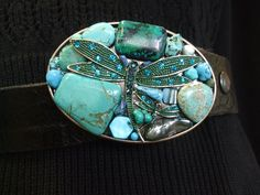 Beautiful Dragonfly belt buckle for snap belts. Love the bling! Belt Buckles, Turquoise Bracelet, Belts, Artisan, Bling, Unique, Handmade, Beautiful, Jewelry